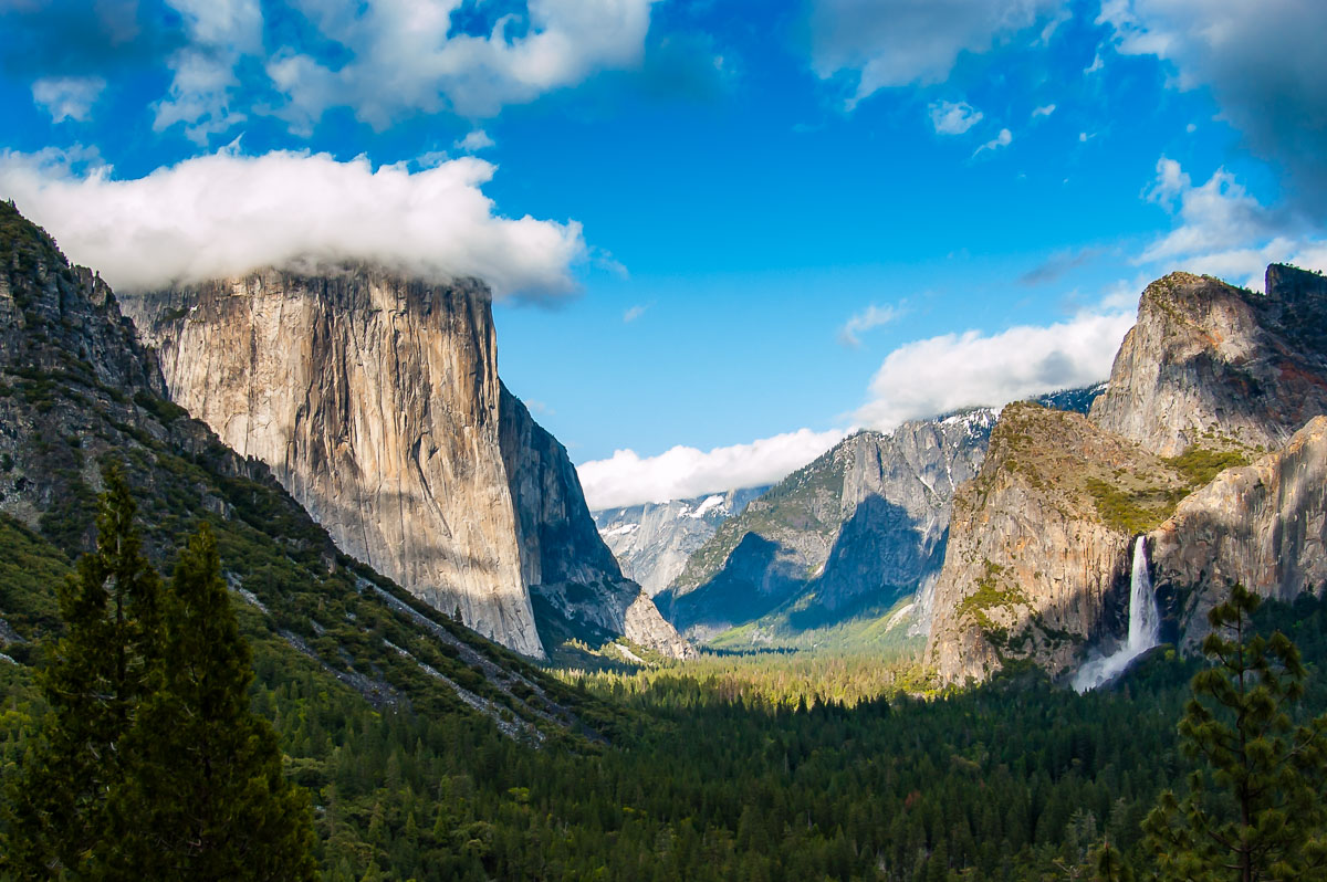 Yosemite Valley with El Capitan capped in cloud